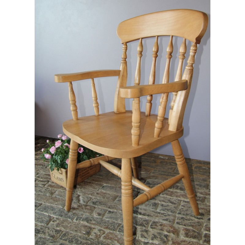 Spindle Back Beech Carver Chair