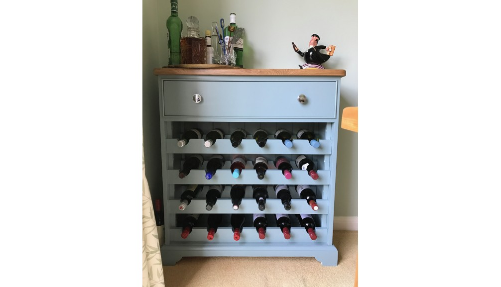 'Custom Design' Painted Pine Wine Rack with Oak Top