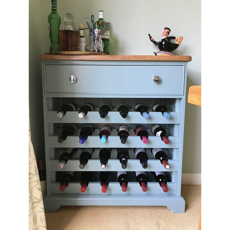 Custom Design Painted Pine Wine Rack With Oak Top