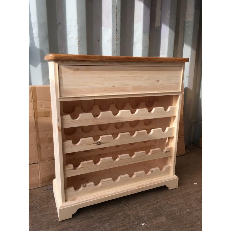 Custom Design Painted Pine Wine Rack With Oak Top