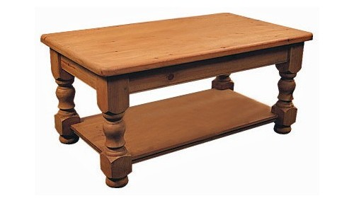 'Farmhouse ' Coffee Table with Shelf - Pine